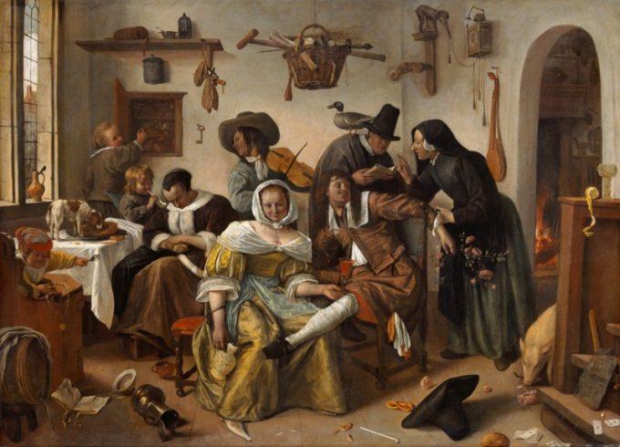 Jan Havickszoon Steen, In weelde siet toe (de omgekeerde wereld) - ca. 1670