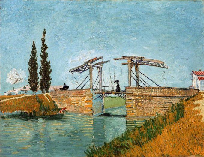 Vincent van Gogh, Ophaalbrug van Arles met dame met parasol, 1888