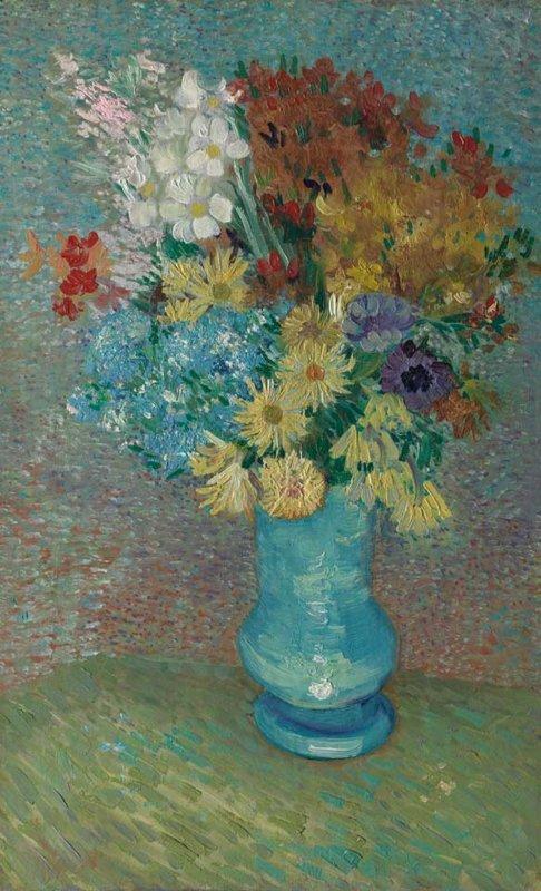 Vincent van Gogh, Bloemen in een blauwe vaas, 1887