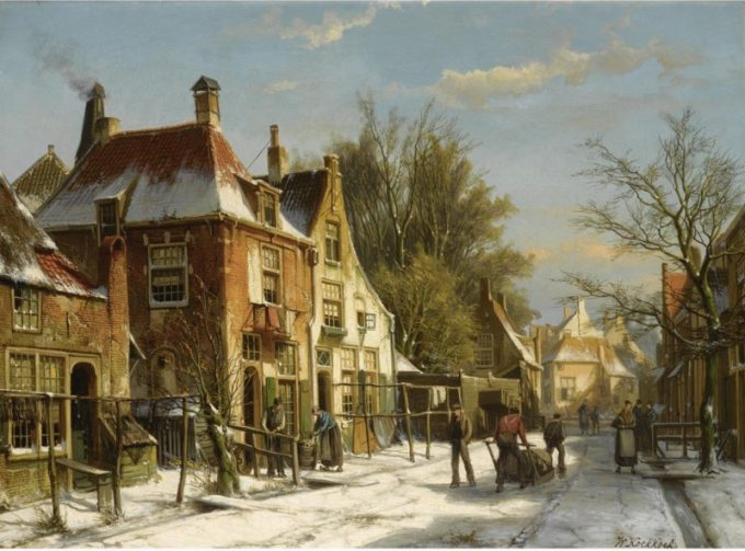 Willem Koekkoek, Stadsgezicht in de winter
