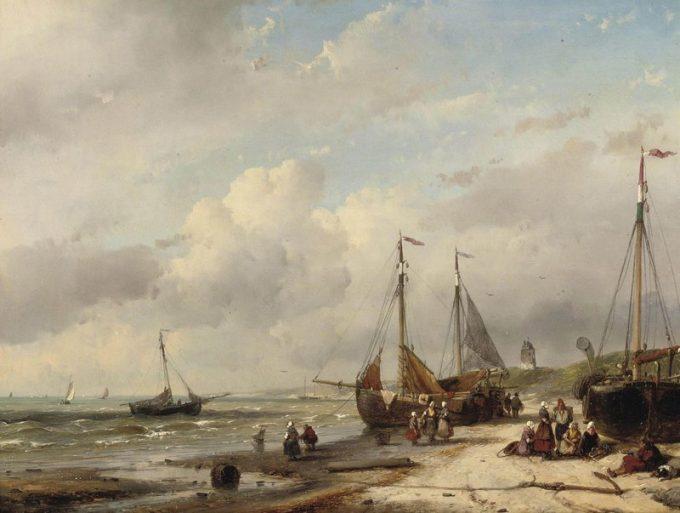 Andreas Schelfhout, Vissers en bomschuiten aan de Nederlandse kust, 1858