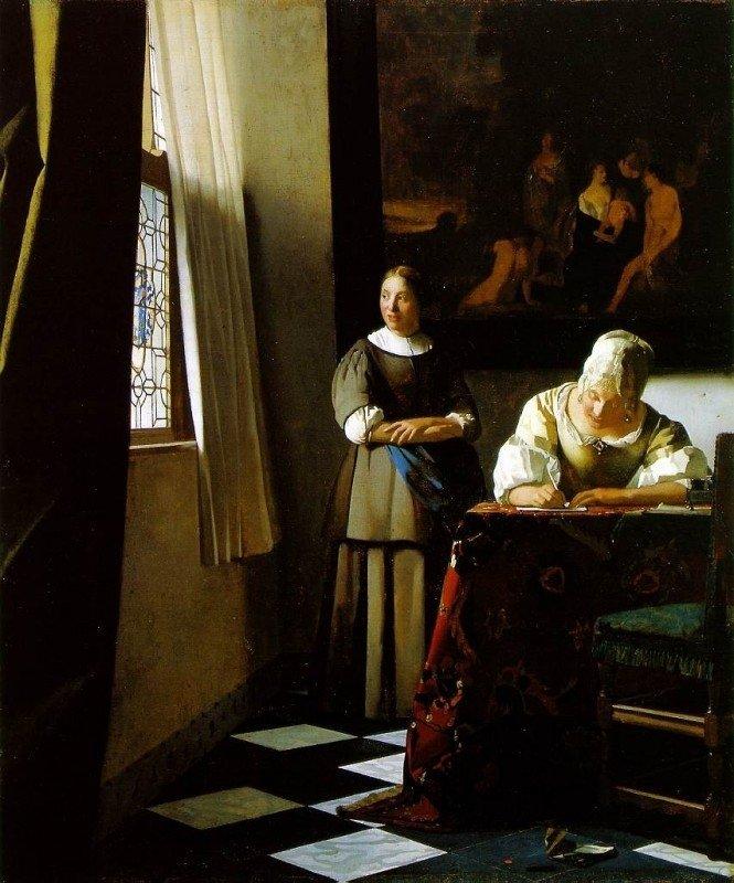 Johannes Vermeer, Schrijvende vrouw met dienstbode, ca.1666-1667
