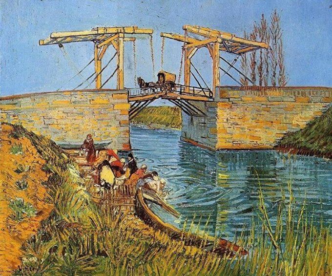 Vincent van Gogh, Ophaalbrug van Arles met wassende vrouwen, 1888