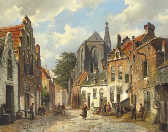 Willem Koekkoek, Stadsmensen in een zonnige Nederlandse straat, 1839-1895