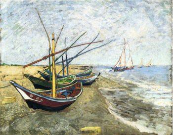 Vincent van Gogh, Vissersboten aan het strand van Saintes-Maries, 1888