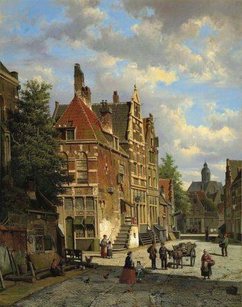 Willem Koekkoek, Hollandse stadsscene met figuren, 1839-1895