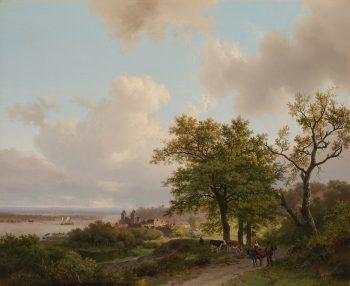 Barend Cornelis Koekkoek, Een stad aan een rivier gezien vanaf een hoogte, 1840