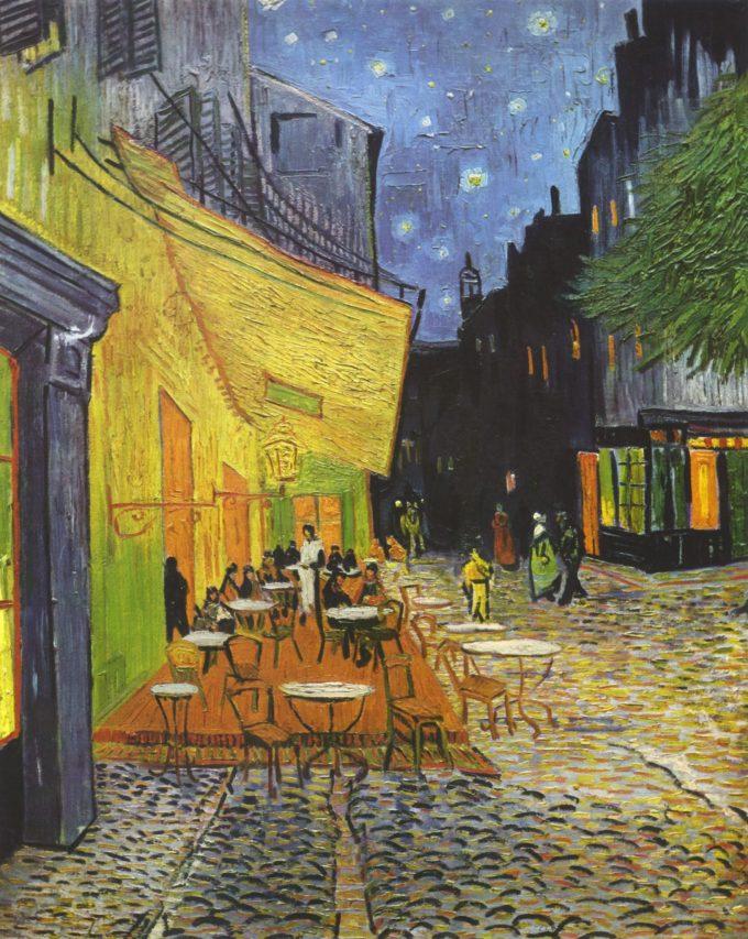 Vincent van Gogh, Cafeterras bij nacht (Terrasse du café le soir, Place du forum, Arles), 1888