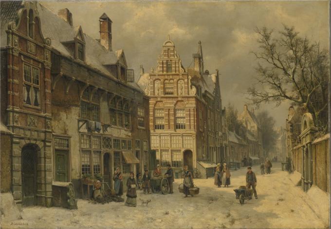 Stadsgezicht in de sneeuw van Willem Koekkoek
