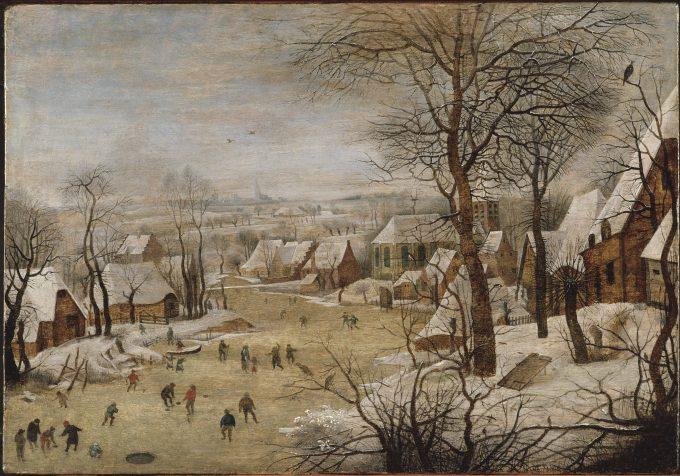 Winterlandschap met schaatsers en vogelknip, Pieter Bruegel de Oude, 1565