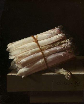 Stilleven met asperges, Adriaen Coorte, 1697