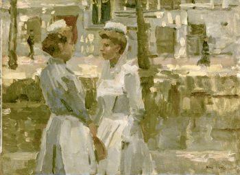 Dienstmeisjes op de Leidsegracht, Isaac Israels, ca. 1890 – ca. 1900