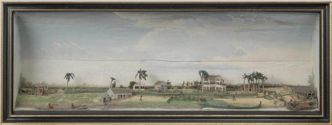 Diorama van de koffie- en katoenplantage Zeezigt, Gerrit Schouten, ca. 1815 - ca. 1821