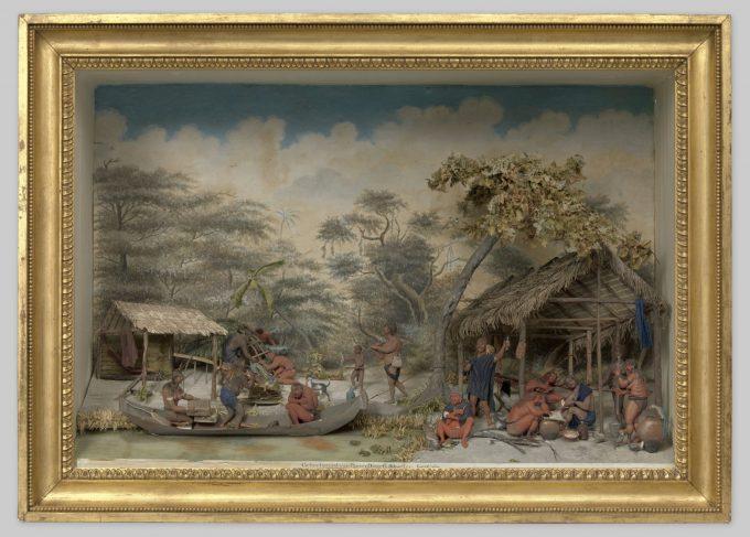 Diorama van een Caraïbenkamp, Gerrit Schouten, 1810