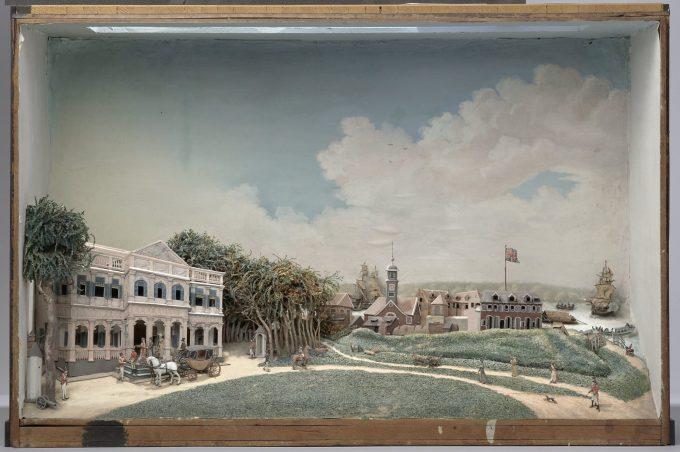 Diorama van het Gouvernementsplein in Paramaribo, Gerrit Schouten, 1812