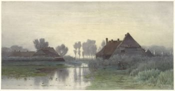 Boerenwoningen aan het water bij ochtendnevel, Paul Joseph Constantin Gabriël, 1838 – 1903