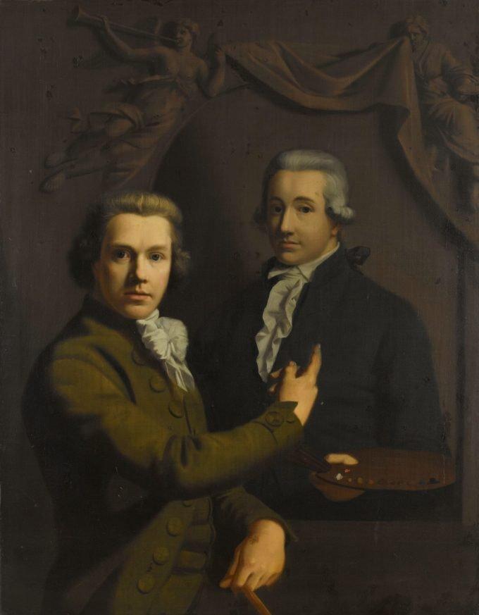 Zelfportret, wijzend naar het portret van zijn gestorven collega Dirk Jacobsz Ploegsma (1769-91), Willem Bartel van der Kooi, 1791 - 1795