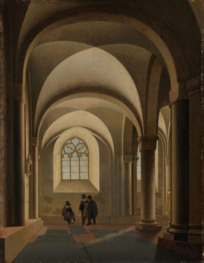 De westelijke traveeën van de zuidelijke beuk van de Mariakerk te Utrecht, Pieter Jansz. Saenredam, ca. 1640 - ca. 1645