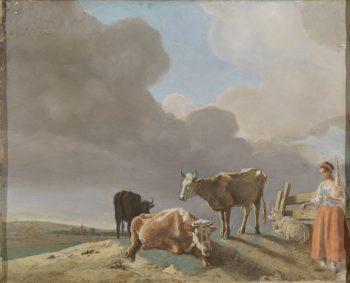 Landschap met koeien, schapen en herderin, gewijzigde kopie naar een schilderij van Paulus Potter, de herderin gekopieerd van een schilderij van Karel Dujardin (recto); onvoltooid portret van een man (verso), Jean-Etienne Liotard, 1761
