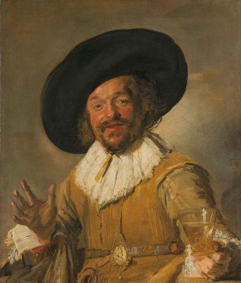 Een schutter die een berkenmeier vasthoudt, bekend als 'De vrolijke drinker', Frans Hals, ca. 1628 – ca. 1630