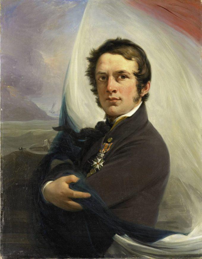 Jacob Hobein (1810-1888). Redder der Nederlandse vlag onder vijandelijk vuur, 18 maart 1831, Jan Willem Pieneman, 1832