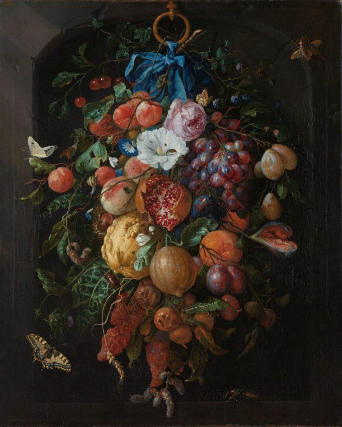Festoen van vruchten en bloemen, Jan Davidsz. de Heem, 1660 - 1670