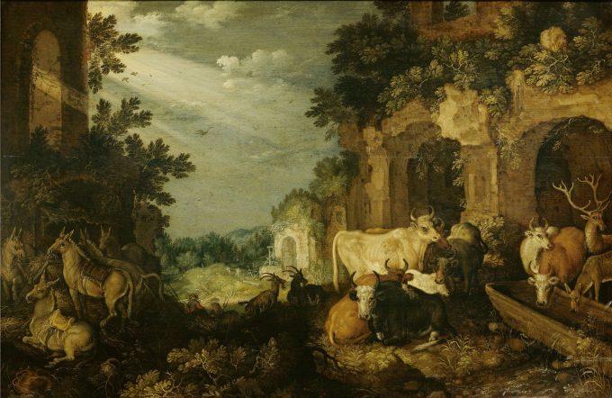 Landschap met ruïnes, vee en herten, Roelant Savery, ca. 1614 - ca. 1620