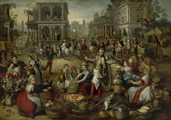 Marktplein, met op de achtergrond de geseling, Ecce Homo en de kruisdraging, Joachim Bueckelaer (kopie naar), 1550 - 1590