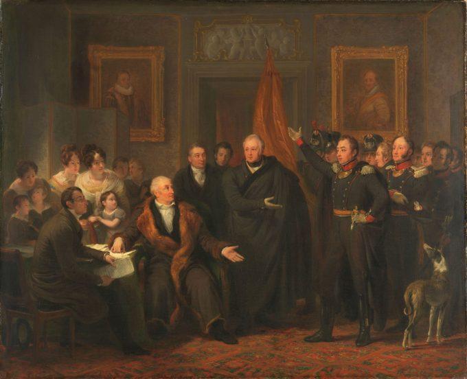 De aanvaarding van het Hoog Bewind door het Driemanschap in naam van de prins van Oranje, 21 november 1813, Jan Willem Pieneman, ca. 1828