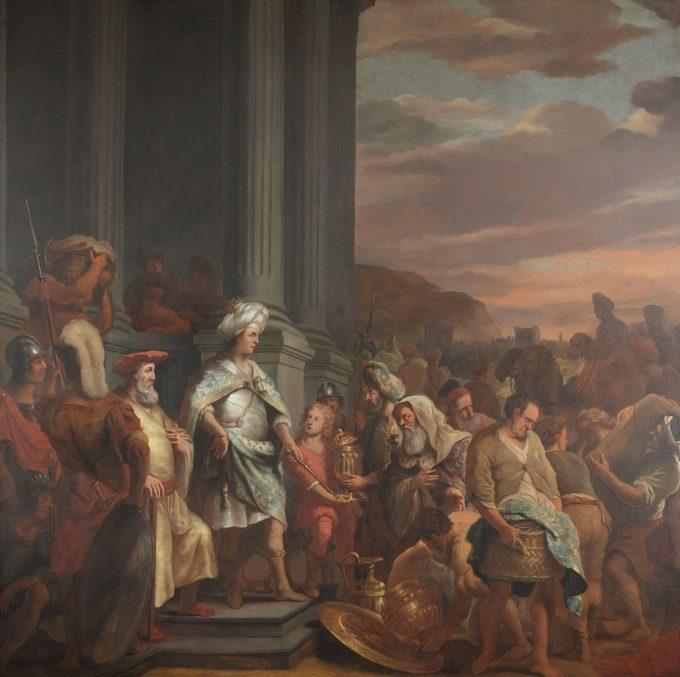 Koning Cyrus overhandigt de geroofde schat uit de tempel van Jeruzalem, Ferdinand Bol, 1655 - 1669