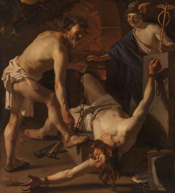 Prometheus door Vulcanus geketend, Dirck van Baburen, 1623