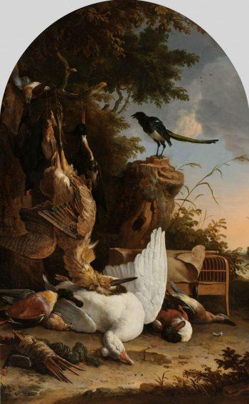 Jachtbuit bij een ekster op een boomstronk, bekend als 'De filosoferende ekster', Melchior d'Hondecoeter, ca. 1678