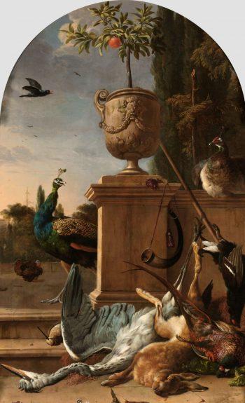 Jachtbuit bij een bordes, Melchior d'Hondecoeter, ca. 1678