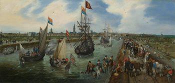 Het vertrek van een hoogwaardigheidsbekleder uit Middelburg, Adriaen Pieterzoon van de Venne, 1615