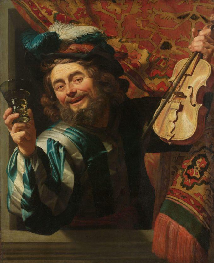 Een vrolijke vioolspeler, Gerard van Honthorst, 1623