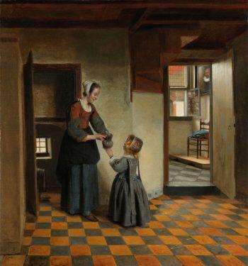 Een vrouw met een kind in een kelderkamer, Pieter de Hooch, ca. 1656 – ca. 1660
