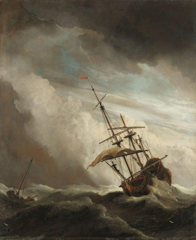 Een schip in volle zee bij vliegende storm, bekend als 'De windstoot', Willem van de Velde (II), ca. 1680, kunst