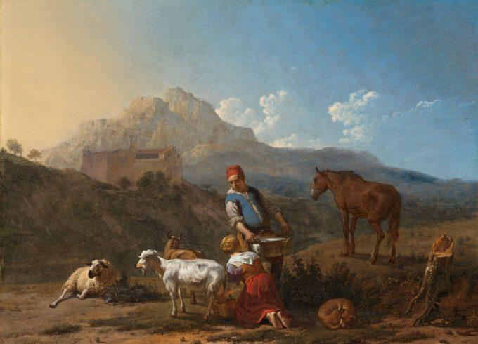 Italiaans landschap met geitenmelkster, Karel du Jardin, 1652