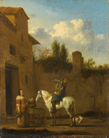 Drinkende trompetter te paard, Karel du Jardin, 1650 – 1660