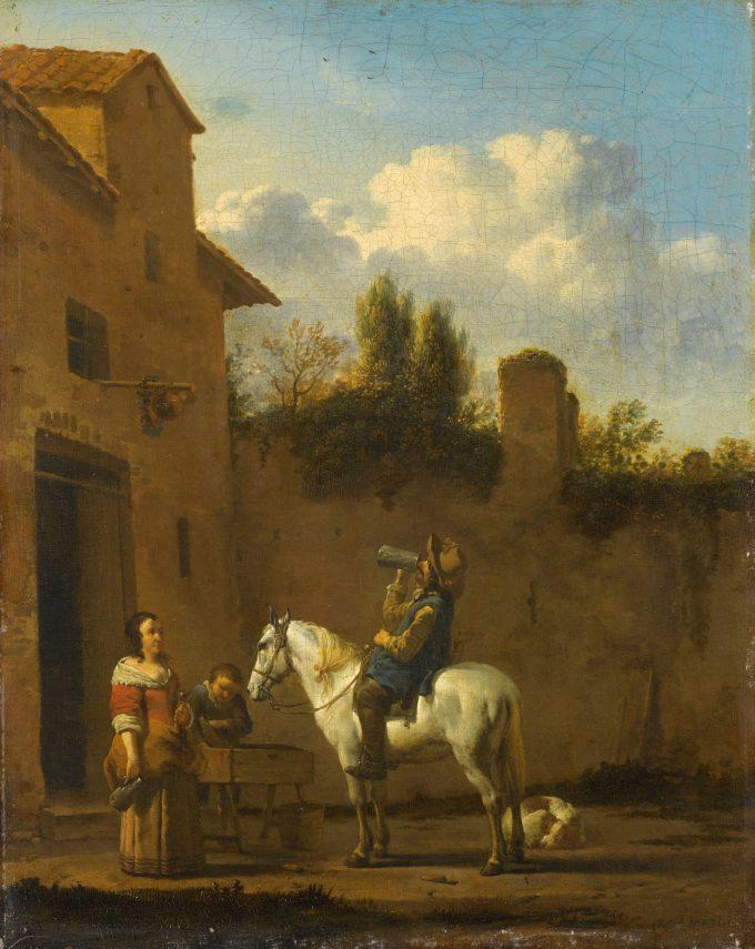 Drinkende trompetter te paard, Karel du Jardin, 1650 - 1660
