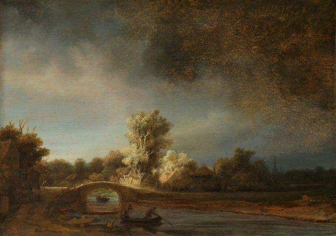 Landschap met stenen brug, Rembrandt van Rijn, ca. 1638