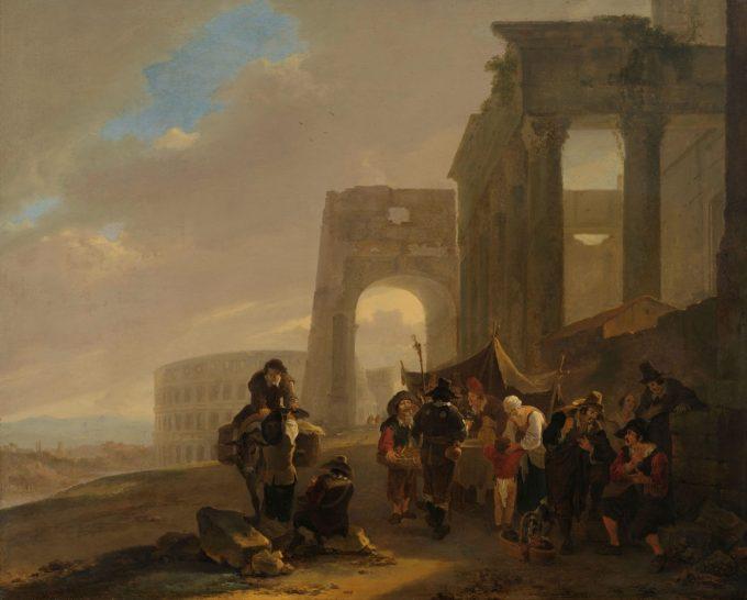 Volksscène tussen Romeinse ruïnes, Jan Both, 1640 - 1652
