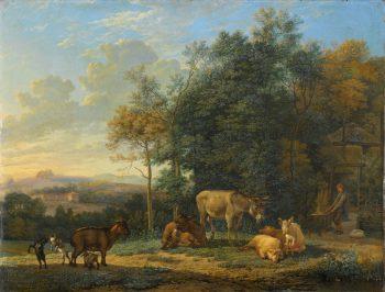 Landschap met twee ezels, geitjes en varkens, Karel du Jardin, 1655