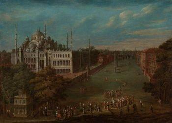 De grootvizier steekt de Atmeydanı (hippodroom) over, Jean Baptiste Vanmour, 1720 – 1737