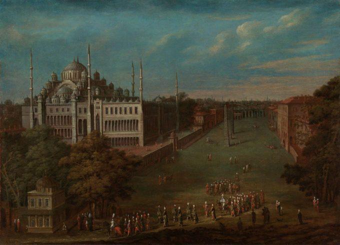 De grootvizier steekt de Atmeydanı (hippodroom) over, Jean Baptiste Vanmour, 1720 - 1737