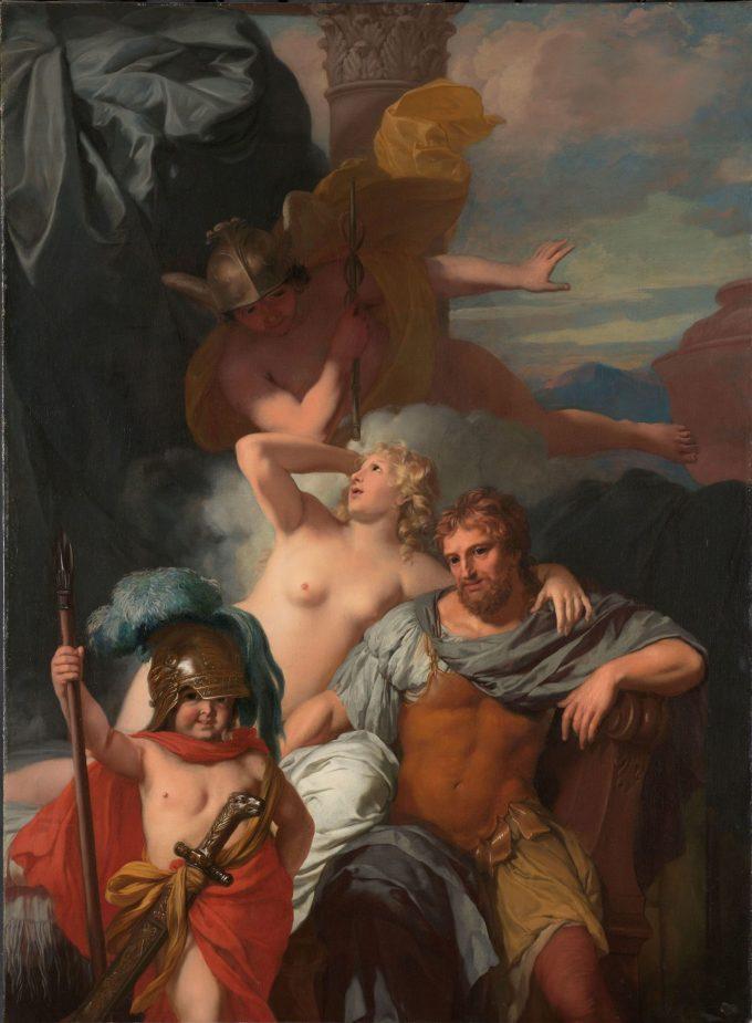 Mercurius gelast Calypso om Odysseus te laten vertrekken, Gerard de Lairesse, ca. 1680