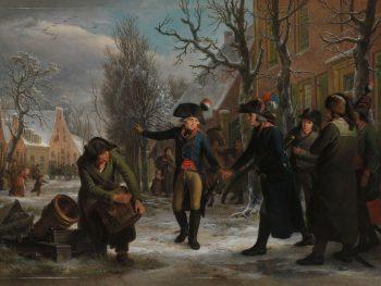 Generaal Daendels neemt afscheid van luitenant-kolonel Krayenhoff, Adriaan de Lelie, 1795