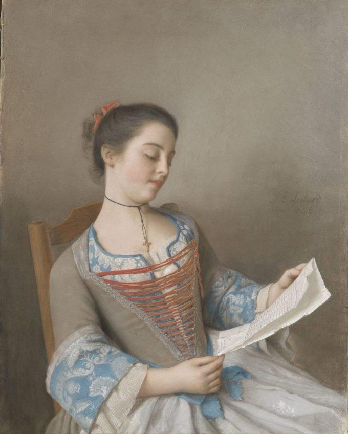 Marianne Lavergne, nicht van de kunstenaar, bekent als 'La Liseuse', Jean-Etienne Liotard, 1746