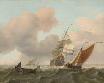 Woelige zee met schepen, Ludolf Bakhuysen, 1697