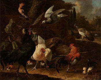 Vogels in een park, Melchior d'Hondecoeter, 1686